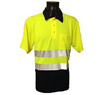 Poloshirt korte mouw navy/fluorgeel - 1