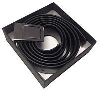 Riem leder zwart met blanco knijpgesp - 1