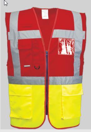 Veiligheidvest Rood fluor geel CE2 - 1